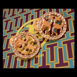 New Large Tory Burch Crystal Circle Studs!
